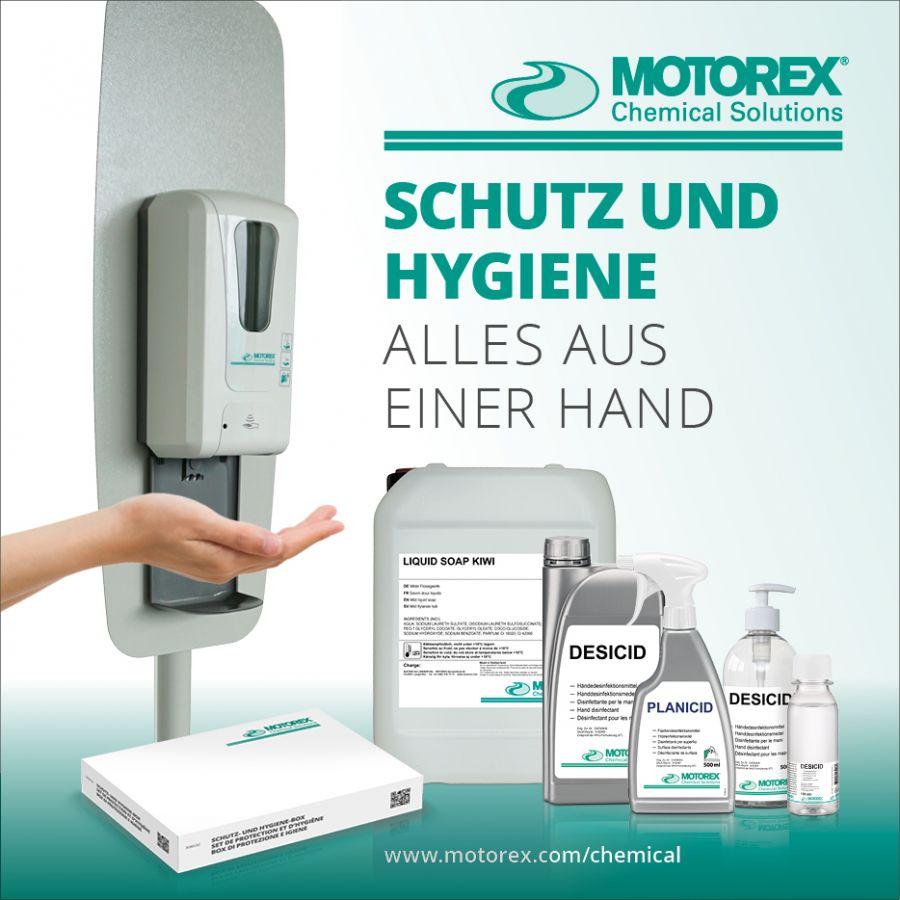 Komplettes Sortiment an Hygiene- und Schutzprodukten von MOTOREX