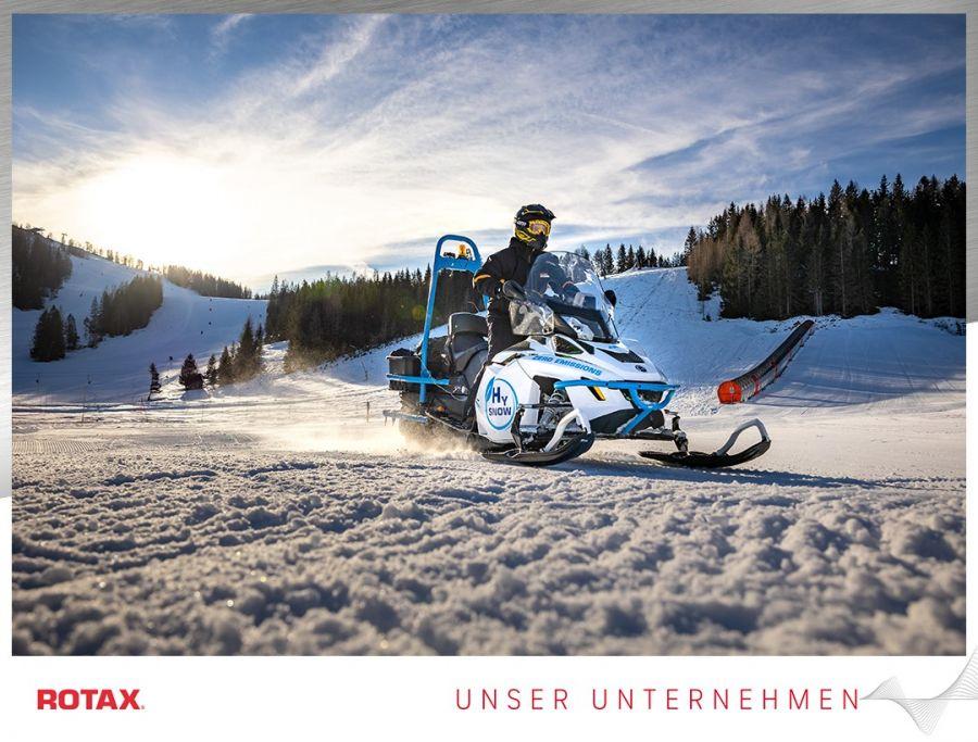 Rotax Wasserstoff-Schneemobil Lynx Hysnow erstmals im Pisten-Einsatz