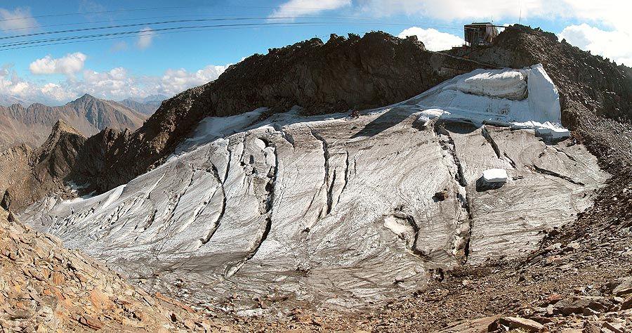 Abdecken von Gletscher-Eis wirksam, aber teuer